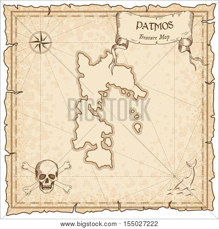 Patmos Old Pirate Map. Sepia Engraved Parchment Template Of Treasure Island. Stylized Manuscript On