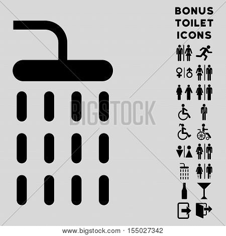 Shower icon and bonus male and woman WC symbols. Vector illustration style is flat iconic symbols, black color, light gray background.