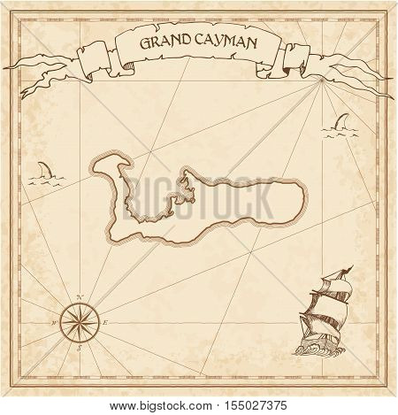 Grand Cayman Old Treasure Map. Sepia Engraved Template Of Pirate Island Parchment. Stylized Manuscri