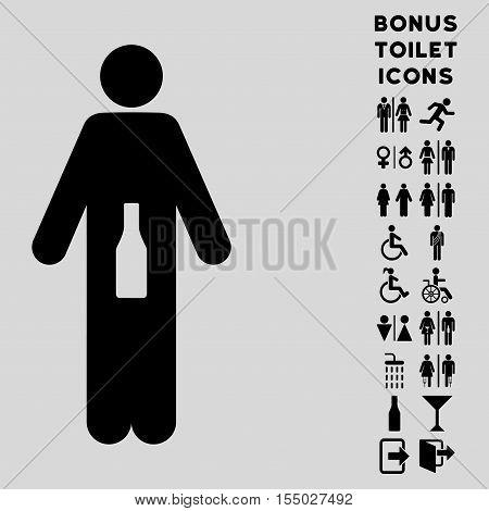 WC Man icon and bonus man and female toilet symbols. Vector illustration style is flat iconic symbols, black color, light gray background.