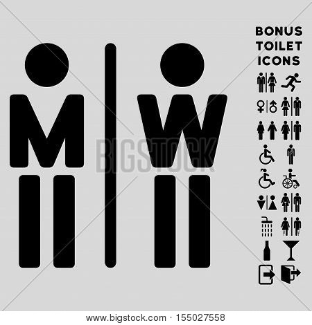 WC Persons icon and bonus gentleman and female toilet symbols. Vector illustration style is flat iconic symbols, black color, light gray background.