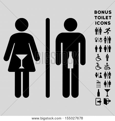 WC Persons icon and bonus male and lady toilet symbols. Vector illustration style is flat iconic symbols, black color, light gray background.