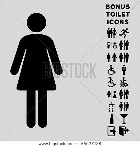 Woman icon and bonus male and woman restroom symbols. Vector illustration style is flat iconic symbols, black color, light gray background.