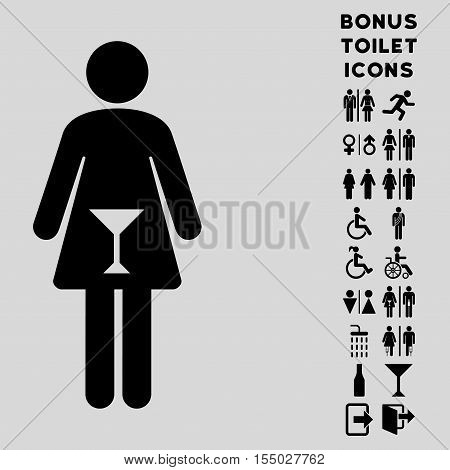 Woman icon and bonus man and woman restroom symbols. Vector illustration style is flat iconic symbols, black color, light gray background.