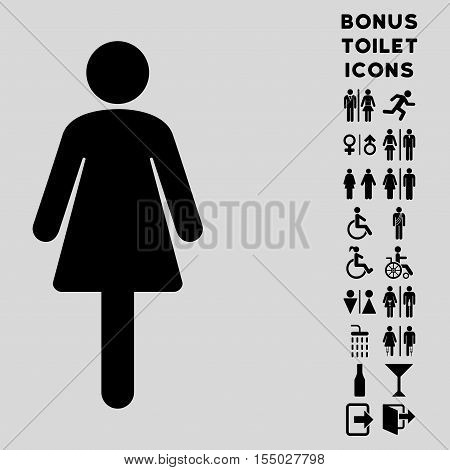 Woman icon and bonus gentleman and lady toilet symbols. Vector illustration style is flat iconic symbols, black color, light gray background.