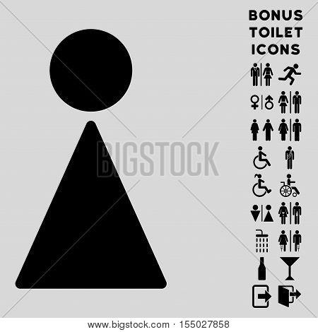 Woman icon and bonus man and woman toilet symbols. Vector illustration style is flat iconic symbols, black color, light gray background.