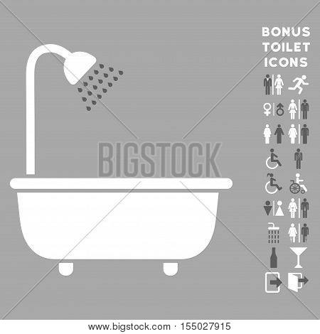 Bath Shower icon and bonus man and female restroom symbols. Vector illustration style is flat iconic bicolor symbols, dark gray and white colors, silver background.