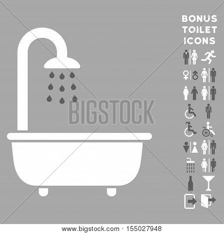 Bath Shower icon and bonus male and lady lavatory symbols. Vector illustration style is flat iconic bicolor symbols, dark gray and white colors, silver background.