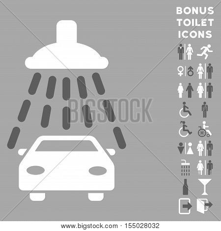 Car Shower icon and bonus gentleman and woman lavatory symbols. Vector illustration style is flat iconic bicolor symbols, dark gray and white colors, silver background.