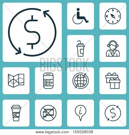 Set Of Traveling Icons On Operator, Info Pointer And Accessibility Topics. Editable Vector Illustrat