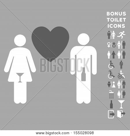 Drunky Love Pair icon and bonus male and lady toilet symbols. Vector illustration style is flat iconic bicolor symbols, dark gray and white colors, silver background.