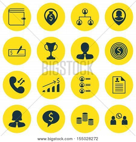 Set Of Management Icons On Money Navigation, Business Deal And Pin Employee Topics. Editable Vector