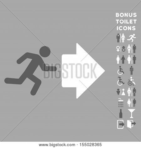 Exit Direction icon and bonus gentleman and lady WC symbols. Vector illustration style is flat iconic bicolor symbols, dark gray and white colors, silver background.