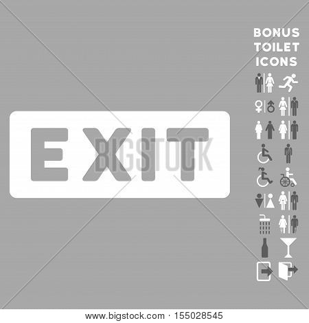Exit Label icon and bonus man and female lavatory symbols. Vector illustration style is flat iconic bicolor symbols, dark gray and white colors, silver background.