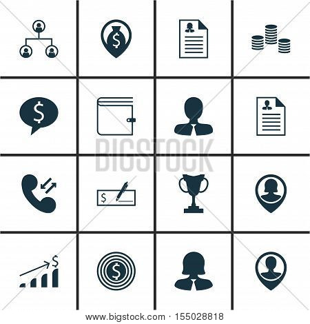 Set Of Hr Icons On Money Navigation, Curriculum Vitae And Manager Topics. Editable Vector Illustrati