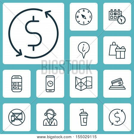 Set Of Traveling Icons On Call Duration, Calculation And Shopping Topics. Editable Vector Illustrati