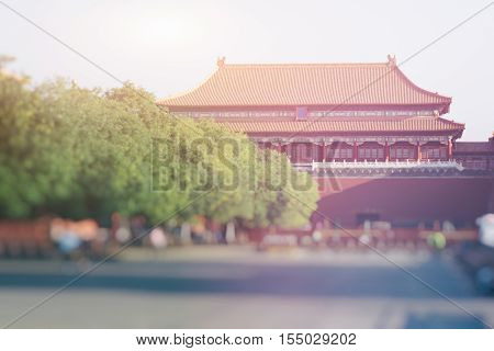 The Meridian Gate is the southern and largest gate of the Forbidden City in Beijing China. It has five arches. The three central arches are close together; the two flanking arches are farther apart from the three central arches. The center arch was former