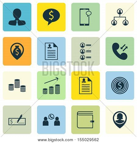 Set Of Hr Icons On Phone Conference, Money Navigation And Business Goal Topics. Editable Vector Illu