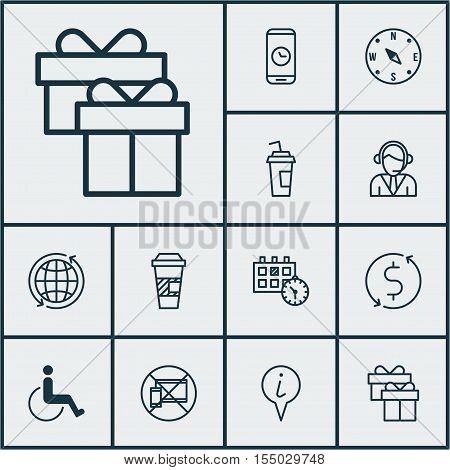Set Of Airport Icons On Accessibility, Present And Operator Topics. Editable Vector Illustration. In