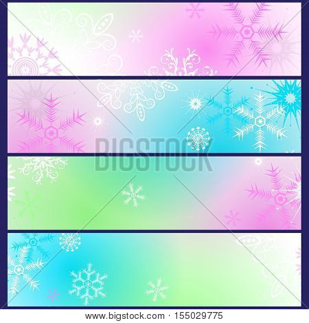 Set colorful gradient winter banners with snowflakes vector eps10
