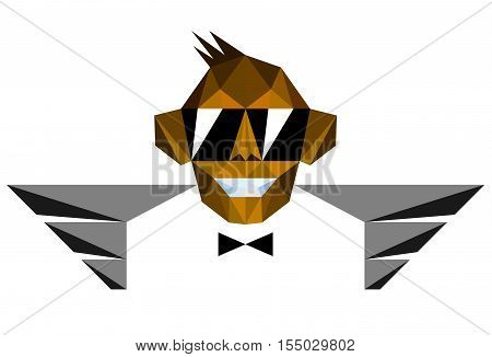 Winged Monkey Chimp with Sunglasses in Polygonal Style