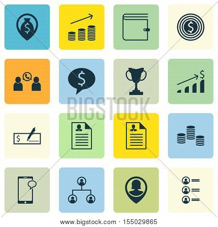 Set Of Human Resources Icons On Wallet, Business Goal And Messaging Topics. Editable Vector Illustra