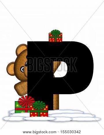 Alphabet Teddy Christmas P