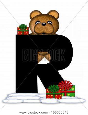 Alphabet Teddy Christmas R