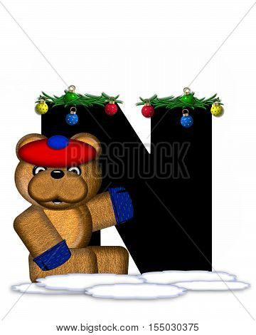 Alphabet Teddy Christmas Boughs N