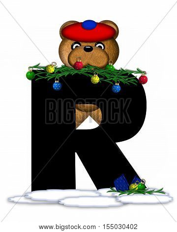 Alphabet Teddy Christmas Boughs R