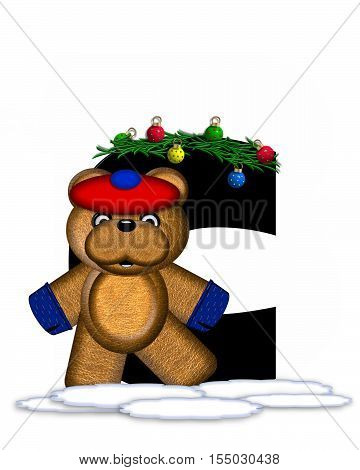 Alphabet Teddy Christmas Boughs C