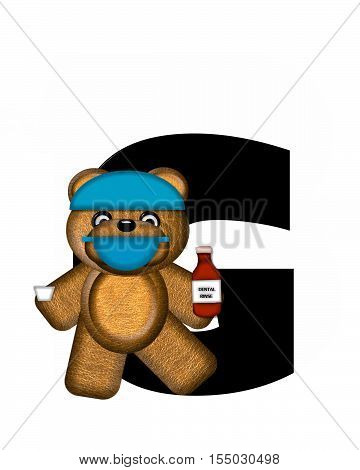"""The letter G in the alphabet set """"Teddy Dental Checkup"""" is black. Teddy bear wearing a dental mask and hat represents dentist holding various dental tools. poster"""