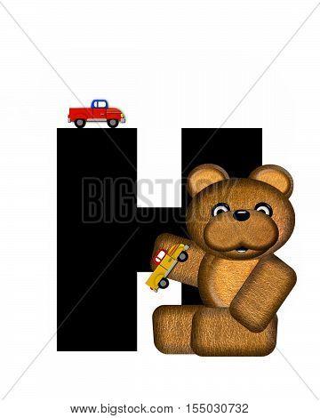 Alphabet Teddy Driving Cars H