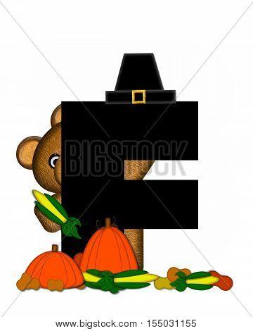 Alphabet Teddy Thanksgiving F