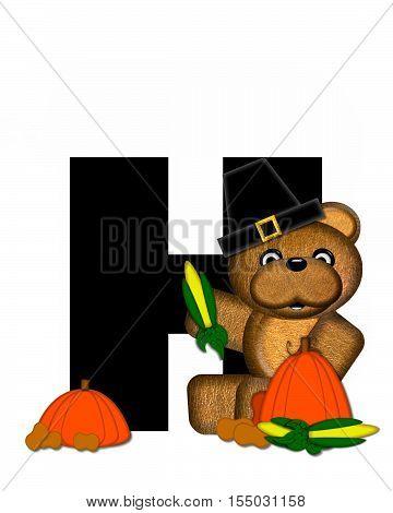 Alphabet Teddy Thanksgiving H