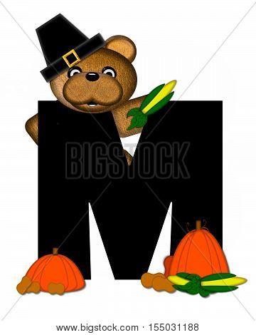Alphabet Teddy Thanksgiving M