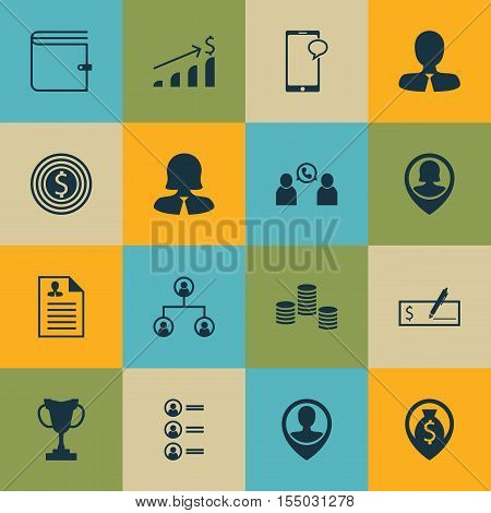 Set Of Hr Icons On Messaging, Successful Investment And Phone Conference Topics. Editable Vector Ill