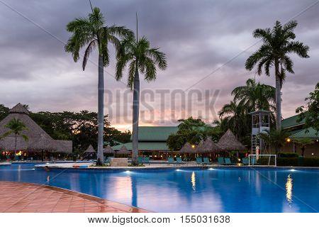 Beautiful Swimming Pool At Twilight