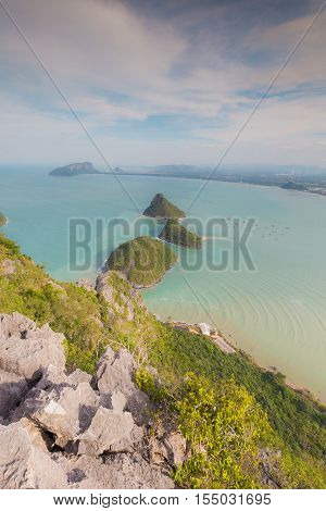 Small Island in the sea aerial view skyline over mountain point of view, South of Thailand