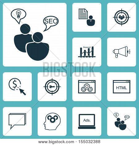 Set Of Advertising Icons On Keyword Marketing, Website Performance And Keyword Optimisation Topics.