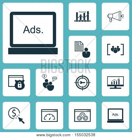 Set Of Advertising Icons On Loading Speed, Report And Media Campaign Topics. Editable Vector Illustr