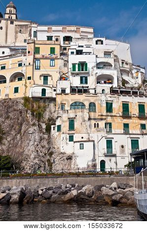 Amalfi houses - Italy. The Amalfi Coast is a stretch of coastline on the southern coast of the Salerno Gulf in the Province of Salerno in Southern Italy.