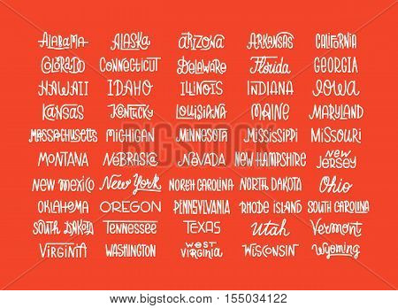 Custom lettering of the names of the American states USA typography