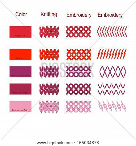The palette original set of colors of embroidery knitting elements vector illustration