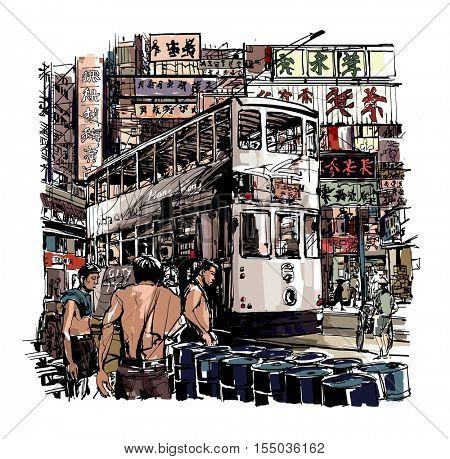 Hong-Kong, tram on the street - vector illustration