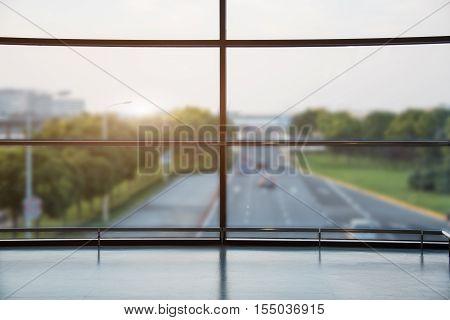 Cityscape Viewed Through Window in Shanghai China.