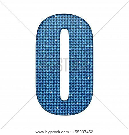 Letters, numbers and symbols in the form of blue sequins.