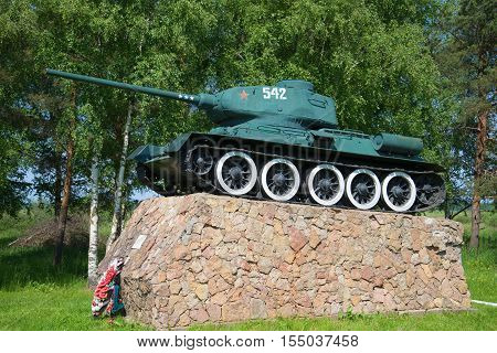 STARAYA RUSSA, RUSSIA - JUNE 02 2016: A monument to the legendary soviet tank T-34 on entry into the city of Staraya Russa. The historical landmark