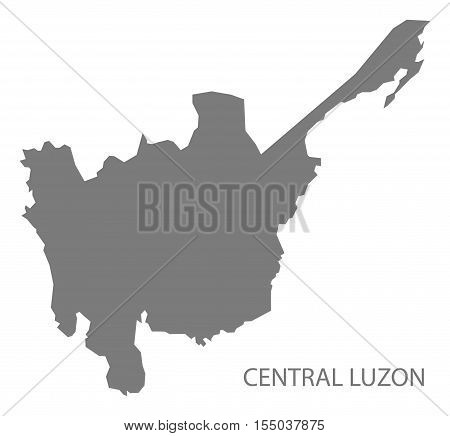 Central Luzon Philippines Map in grey vector illustration