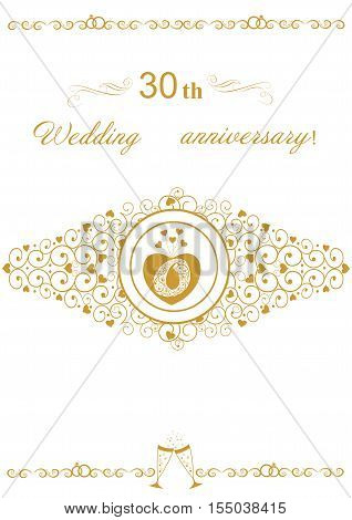 30th Wedding anniversary Invitation beautiful editable and scalable vector illustration. Beautiful card for convenient printing